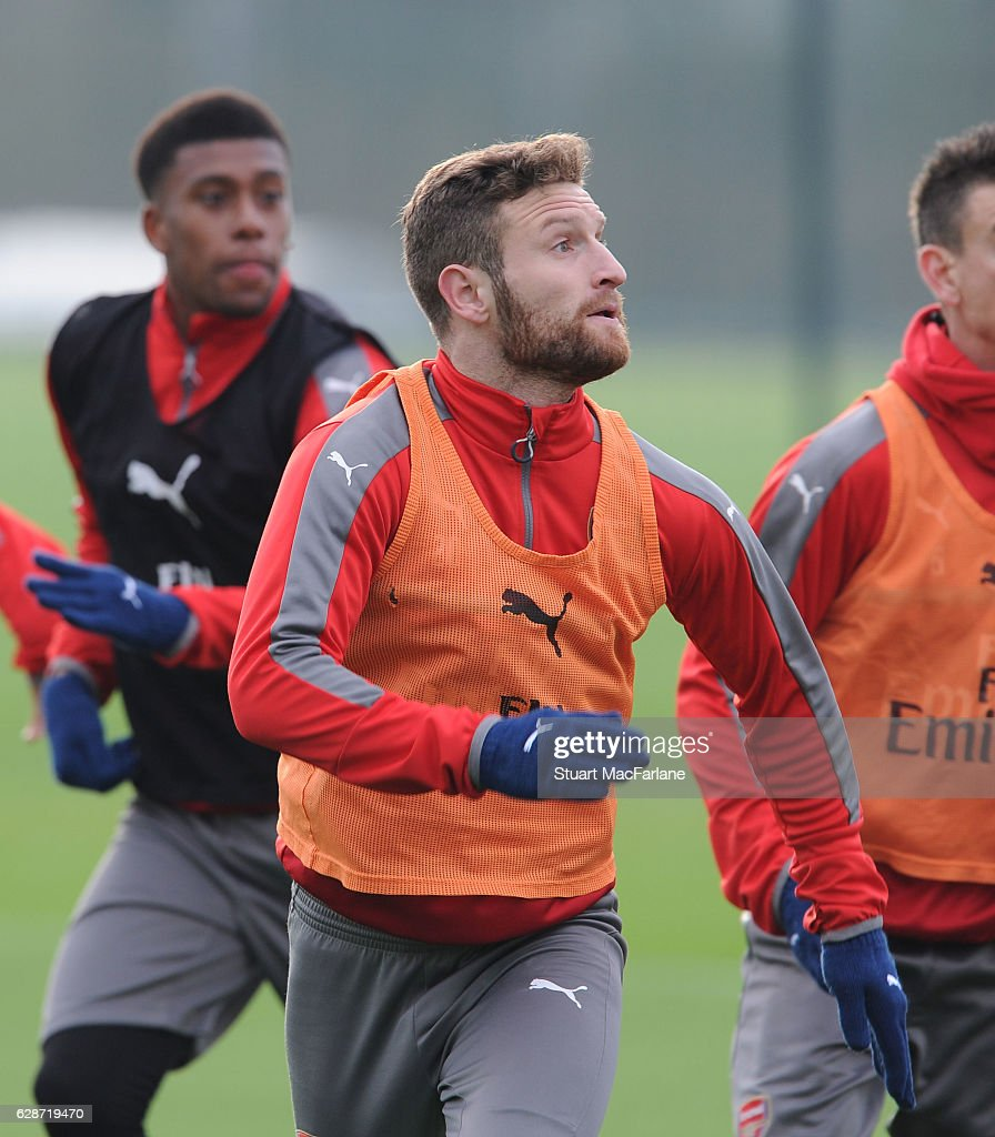 Shkodran Mustafi of Arsenal during a training session at London Colney on December 9, 2016 in St Albans, England.