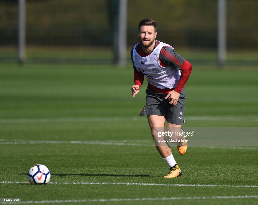 Shkodran Mustafi of Arsenal during a training session at London Colney on September 24, 2017 in St Albans, England.
