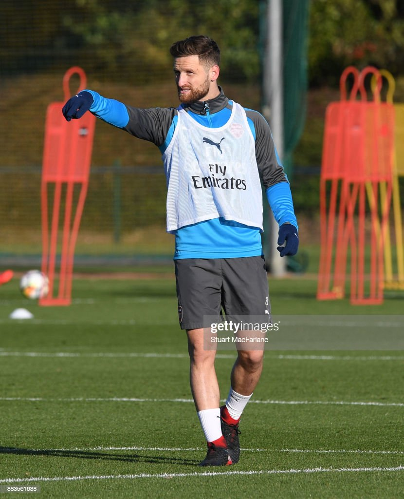 Shkodran Mustafi of Arsenal during a training session at London Colney on December 1, 2017 in St Albans, England.
