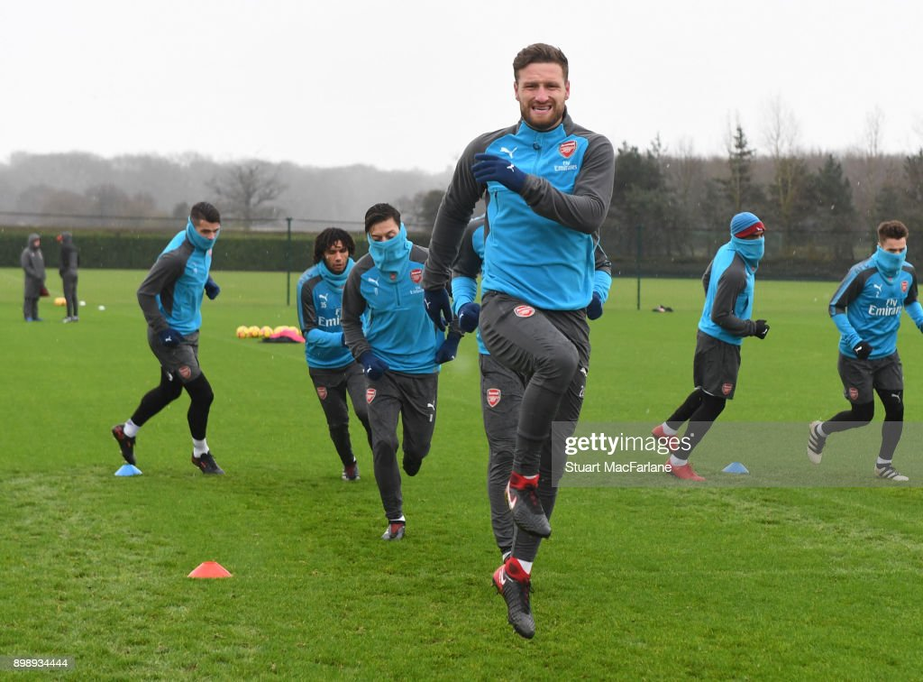 Shkodran Mustafi of Arsenal during a training session at London Colney on December 27, 2017 in St Albans, England.