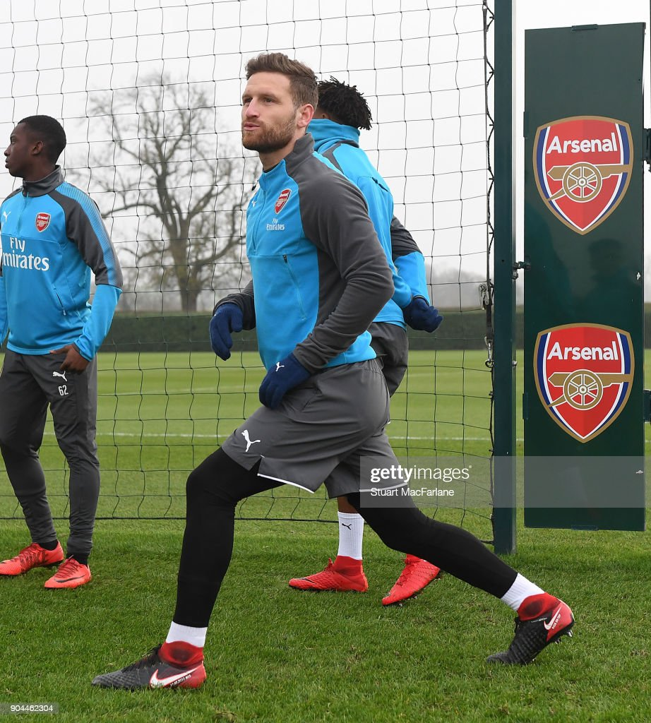 Shkodran Mustafi of Arsenal during a training session at London Colney on January 13, 2018 in St Albans, England.