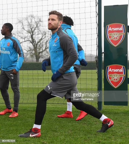 Shkodran Mustafi of Arsenal during a training session at London Colney on January 13 2018 in St Albans England