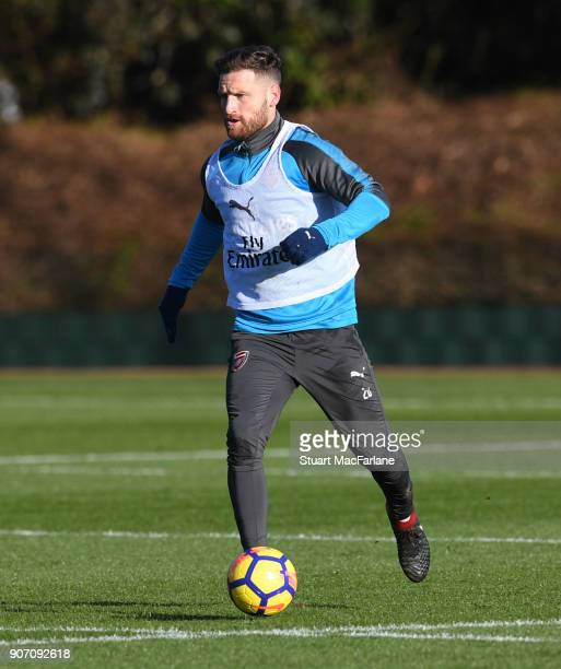 Shkodran Mustafi of Arsenal during a training session at London Colney on January 19 2018 in St Albans England