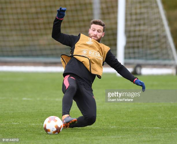 Shkodran Mustafi of Arsenal during a training session at London Colney on February 14 2018 in St Albans United Kingdom