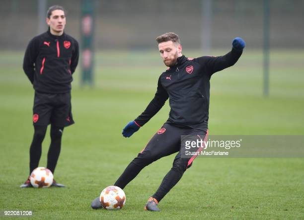Shkodran Mustafi of Arsenal during a training session at London Colney on February 21 2018 in St Albans England