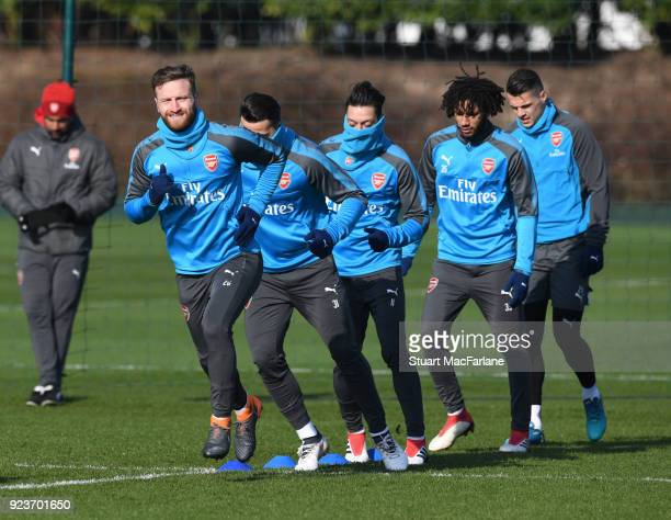 Shkodran Mustafi of Arsenal during a training session at London Colney on February 24 2018 in St Albans England
