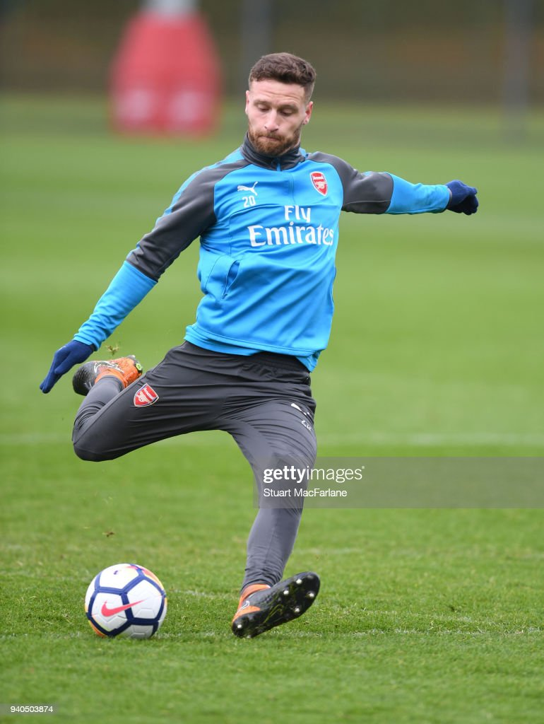 Shkodran Mustafi of Arsenal during a training session at London Colney on March 31, 2018 in St Albans, England.