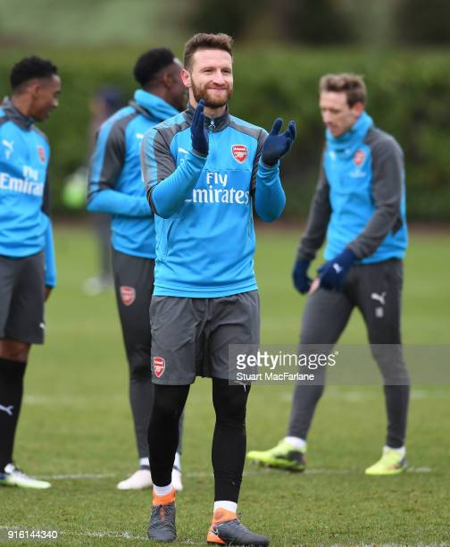 Shkodran Mustafi of Arsenal during a training session at the London Colney on February 9 2018 in St Albans United Kingdom