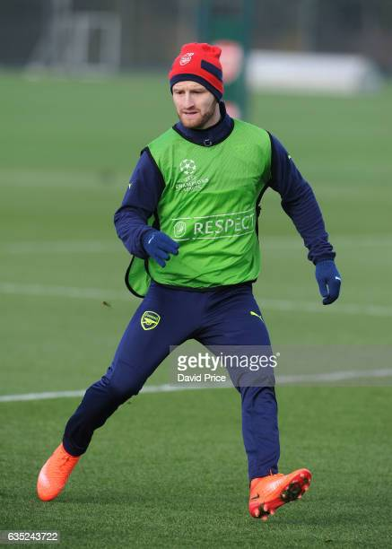 Shkodran Mustafi of Arsenal during the Arsenal Training Session at London Colney on February 14, 2017 in St Albans, England.