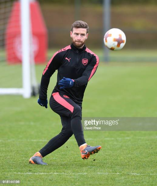 Shkodran Mustafi of Arsenal during the Arsenal training session at London Colney on February 14 2018 in St Albans England
