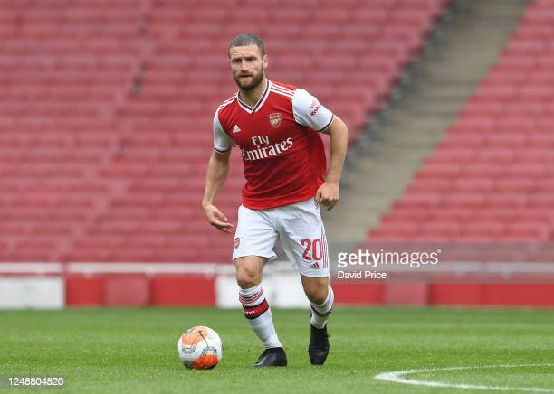 Shkodran Mustafi of Arsenal during the friendly match between Arsenal and Brentford at Emirates Stadium on June 10 2020 in London England