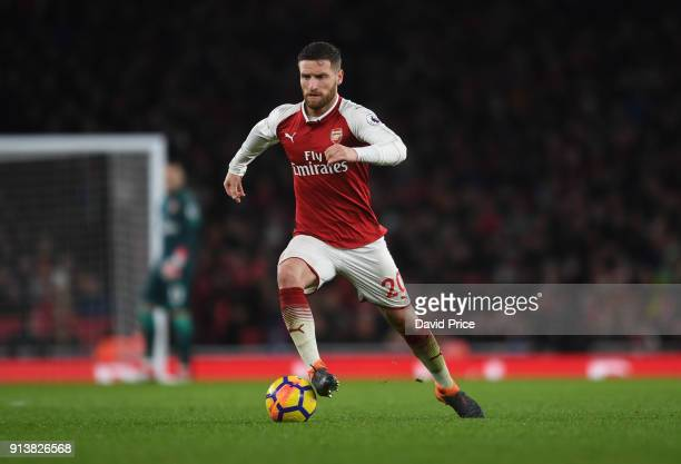 Shkodran Mustafi of Arsenal during the match the Premier League match between Arsenal and Everton at Emirates Stadium on February 3 2018 in London...