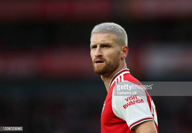 Shkodran Mustafi of Arsenal during the Premier League match between Arsenal FC and Everton FC at Emirates Stadium on February 23, 2020 in London,...