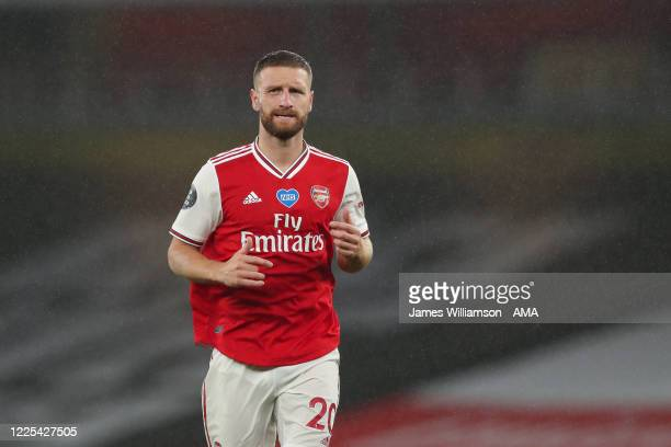 Shkodran Mustafi of Arsenal during the Premier League match between Arsenal FC and Leicester City at Emirates Stadium on July 7 2020 in London United...
