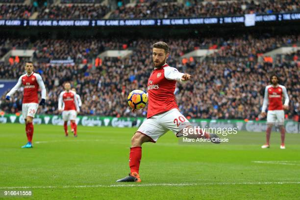 Shkodran Mustafi of Arsenal during the Premier League match between Tottenham Hotspur and Arsenal at Wembley Stadium on February 10 2018 in London...
