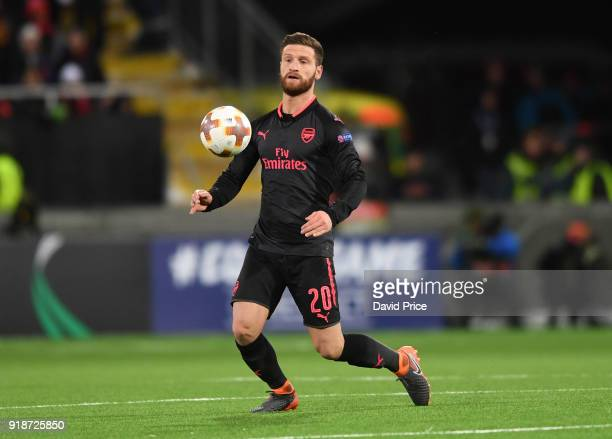 Shkodran Mustafi of Arsenal during UEFA Europa League Round of 32 match between Ostersunds FK and Arsenal at the Jamtkraft Arena on February 15 2018...