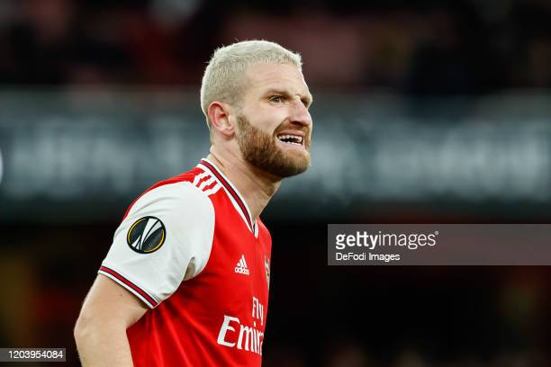 Shkodran Mustafi of Arsenal FC looks on during the UEFA Europa League round of 32 second leg match between Arsenal FC and Olympiacos FC at Emirates...