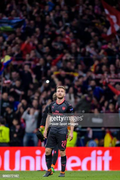 Shkodran Mustafi of Arsenal FC reacts after the UEFA Europa League 201718 semifinals match between Atletico de Madrid and Arsenal FC at Wanda...