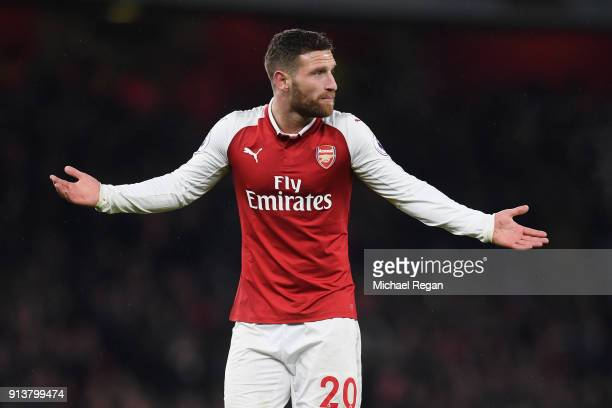 Shkodran Mustafi of Arsenal gestures during the Premier League match between Arsenal and Everton at Emirates Stadium on February 3 2018 in London...