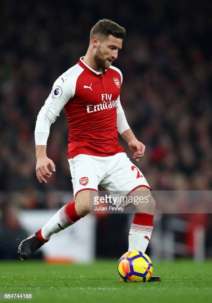 Shkodran Mustafi of Arsenal in action during the Premier League match between Arsenal and Manchester United at Emirates Stadium on December 2 2017 in...