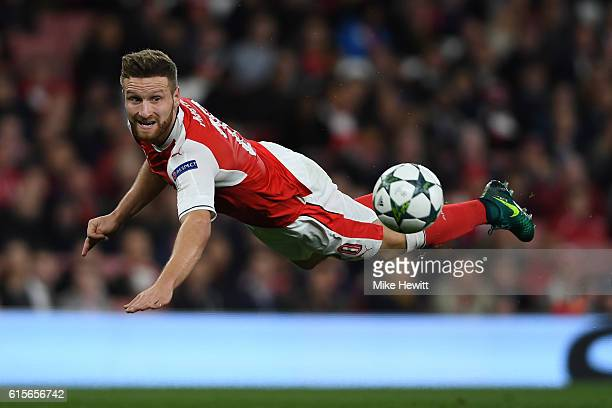 Shkodran Mustafi of Arsenal in action during the UEFA Champions League group A match between Arsenal FC and PFC Ludogorets Razgrad at the Emirates...