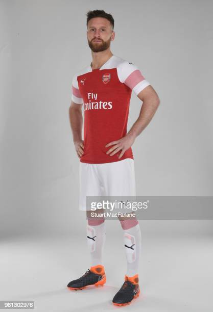 Shkodran Mustafi of Arsenal in the new home kit for season 201819 on March 16 2018 in St Albans England