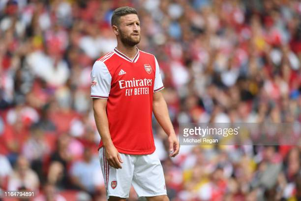 Shkodran Mustafi of Arsenal looks on during the Emirates Cup match between Arsenal and Olympique Lyonnais at the Emirates Stadium on July 28, 2019 in...