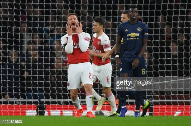 Shkodran Mustafi of Arsenal reacts after a missed chance during the FA Cup Fourth Round match between Arsenal and Manchester United at Emirates...