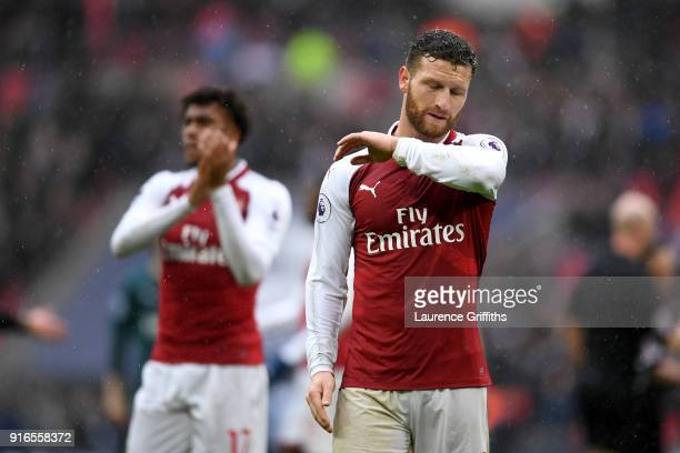 Shkodran Mustafi of Arsenal reacts after the Premier League match between Tottenham Hotspur and Arsenal at Wembley Stadium on February 10 2018 in...