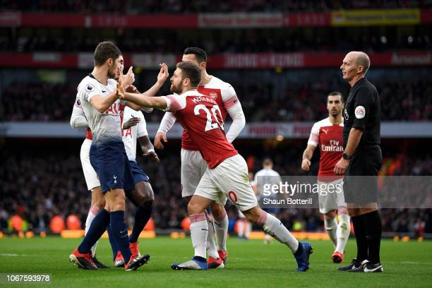 Shkodran Mustafi of Arsenal reacts during the Premier League match between Arsenal FC and Tottenham Hotspur at Emirates Stadium on December 1 2018 in...