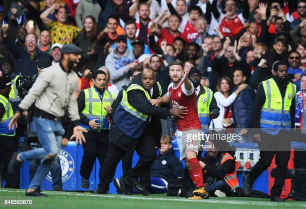 Shkodran Mustafi of Arsenal reacts to having his goal rulled for offiside during the Premier League match between Chelsea and Arsenal at Stamford...