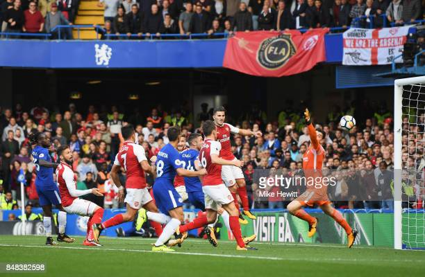 Shkodran Mustafi of Arsenal scores a goal but it is rulled for offside during the Premier League match between Chelsea and Arsenal at Stamford Bridge...