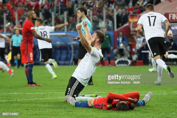 Shkodran Mustafi of Germany celebrates at the final whistle during the FIFA Confederations Cup Russia 2017 Final match between Chile and Germany at...