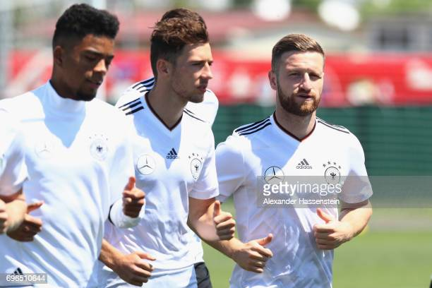Shkodran Mustafi of Germany runs during a training session at Park Arena training ground on June 16 2017 in Sochi Russia