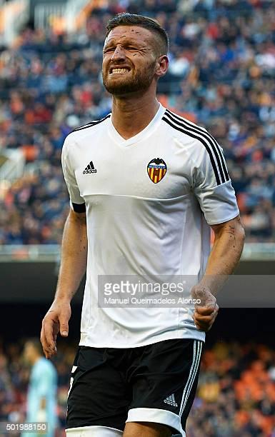 Shkodran Mustafi of Valencia reacts during the La Liga match between Valencia CF and Getafe CF at Estadi de Mestalla on December 19 2015 in Valencia...