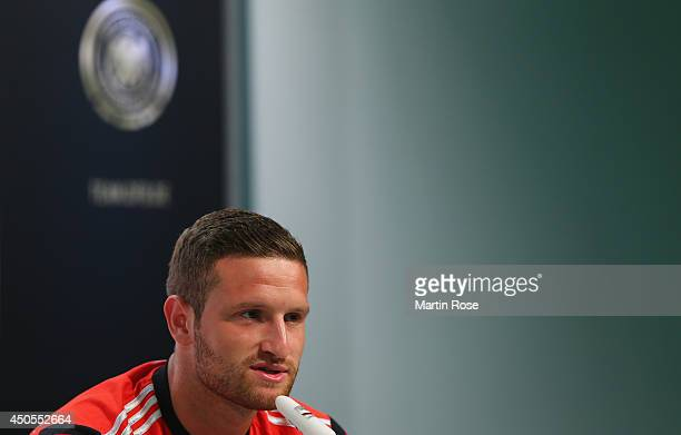 Shkodran Mustafi talks to the media during the German National team press conference at Campo Bahia on June 13 2014 in Santo Andre Brazil