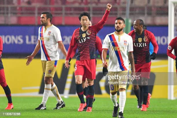 Sho Ito of Kashima Antlers celebrates after scoring a goal during the AFC Champions League play off between Kashima Antlers and Newcastle Jets at...