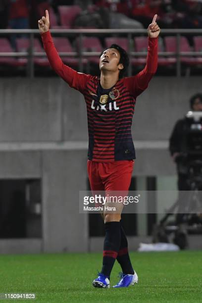 Sho Ito of Kashima Antlers celebrates the first goal during the AFC Champions League Group E match between Kashima Antlers and Shandong Luneng at...