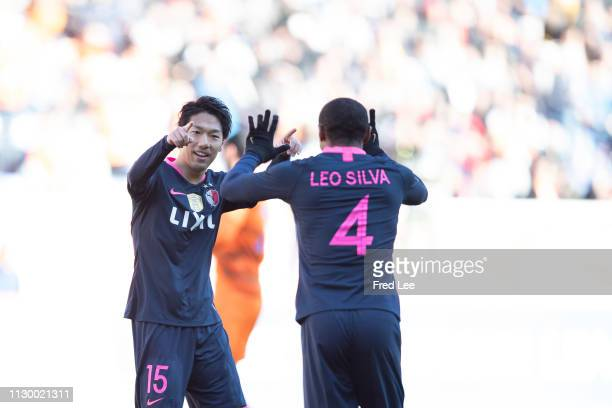 Sho Ito of Kashima Antlers celebrates with teammates after scoring his team's goal during the AFC Champions League Group E match between Shandong...