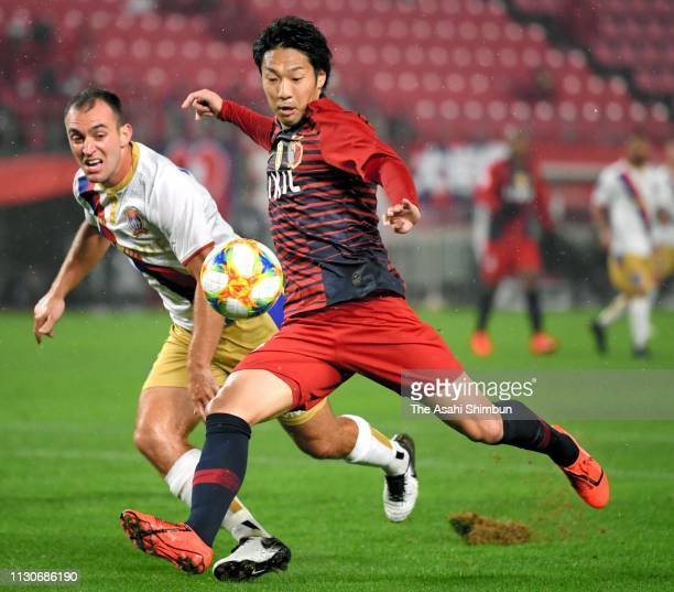Sho Ito of Kashima Antlers shoots at goal during the AFC Champions League play off between Kashima Antlers and Newcastle Jets at Kashima Soccer...