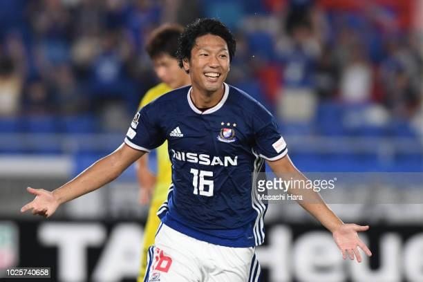 Sho Ito of Yokohama FMarinos celebrates the third goal during the JLeague J1 match between Yokohama FMarinos and Kashiwa Reysol at Nissan Stadium on...