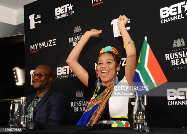 Sho Madjozi during her Press Conference at InterContinental Hotel OR Tambo Airport on July 01 2019 in Johannesburg South Africa Sho Madjozi arrived...