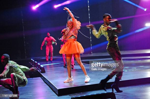 Sho Madjozi during the Miss South Africa 2019 beauty pageant grand finale at the Time Square Sun Arena on August 09 2019 in Pretoria South Africa...