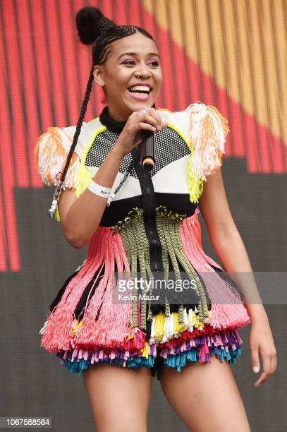Sho Madjozi performs during the Global Citizen Festival Mandela 100 at FNB Stadium on December 2 2018 in Johannesburg South Africa