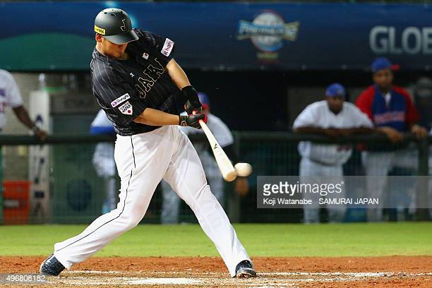 Sho Nakata of Japan hits a two run double in the top of eighth inning during the WBSC Premier 12 match between Japan and Dominican Republic at the...