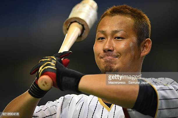 Sho Nakata of SAMURAI JAPAN in action during the Japan national baseball team practice session at the Tokyo Dome on November 9 2016 in Tokyo Japan