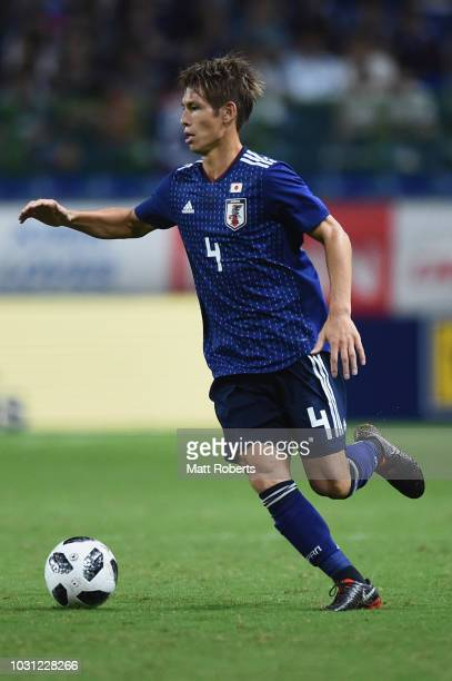 Sho Sasaki of Japan controls the ball during the international friendly match between Japan and Costa Rica at Suita City Football Stadium on...