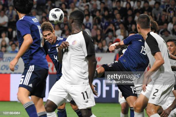 SHo Sasaki of Japan heads the ball resulting in the own goal during the international friendly match between Japan and Costa Rica at Suita City...