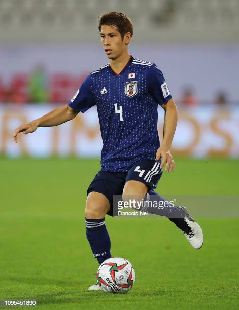 Sho Sasaki of Japan in action during the AFC Asian Cup Group F match between Japan and Uzbekistsn at Khalifa Bin Zayed Stadium on January 17, 2019 in...