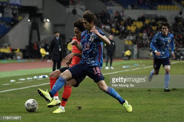 Sho Sasaki of Japan in action during the EAFF E-1 Football Championship match between South Korea and Japan at Busan Asiad Main Stadium on December...